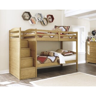 Broffin Light Brown Bunk Bed Set with Step Storage