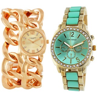Vernier Women's 2-piece Rose Goldtone & Mint/Goldtone Watch Set