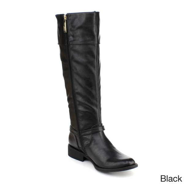 DBDK Women's 'Chery-5' Metallic Ankle Strap Knee-high Boots