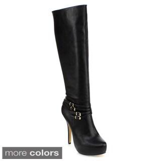 DBDK Women's 'Hitton-1' Platform Stiletto Ankle-strap Knee-high Boots