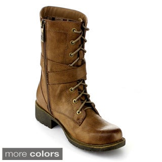 DBDK Women's 'Margin-1' Lace-up Combat Mid-calf Boots