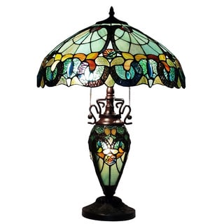Amora Lighting Tiffany Style 3-light Floral Table Lamp