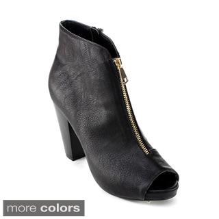 DBDK Women's 'Olivaly-2' Peep-toe Chunky Heel Booties