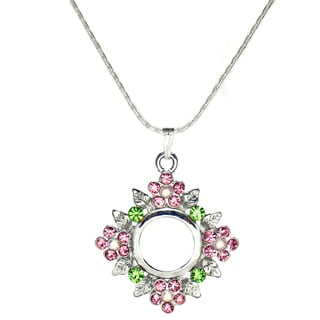 Jewelry by Dawn Pink Rhinestone Pewter Flower Pendant Sterling Silver Chain Necklace