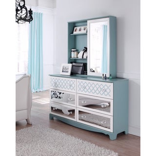 Signature Design by Ashley Mivara Light Blue 6-Drawer Dresser and Mirror Set