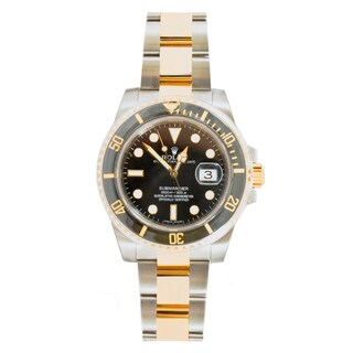 Pre-Owned Rolex Men's Two-tone Submariner Model 116613 Ceramic Bezel Black Dial Watch