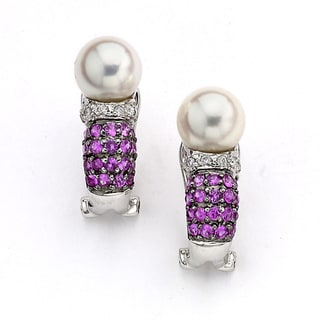 Diamonds for a Cure by Neda Behnam 14k White Gold 1/10ct TDW Diamond/ Pink Sapphire/ Pearl Drop Earrings (H-I, SI1-SI2) (7-8mm)