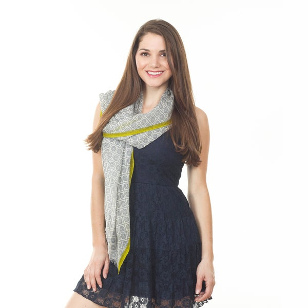 Grey Ikat Design Wool Shawl