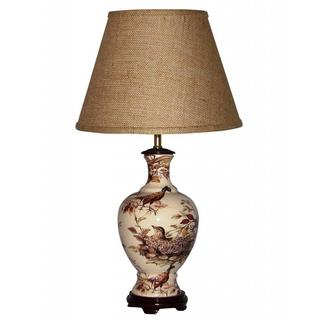 Ceramic Brown Pheasants Table Lamp with Brown Burlap Shade