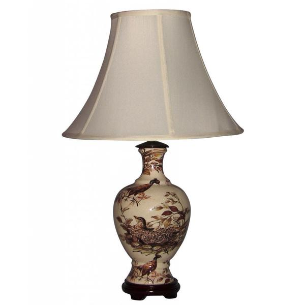 Ceramic Brown Pheasants Table Lamp with Off-white Silk Shade