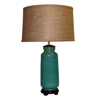 Blue Crackle Ceramic Table Lamp with Burlap Drum Shade