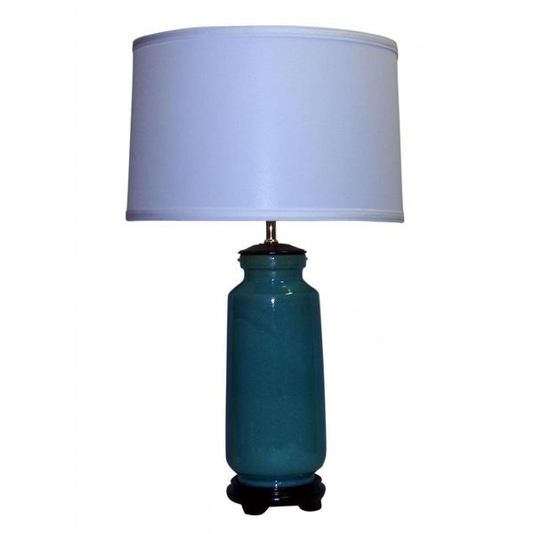 Blue Crackle Ceramic Table Lamp with Off-white Drum Shade