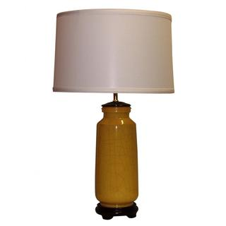 Yellow Crackle Ceramic Table Lamp with Off-white Drum Shade
