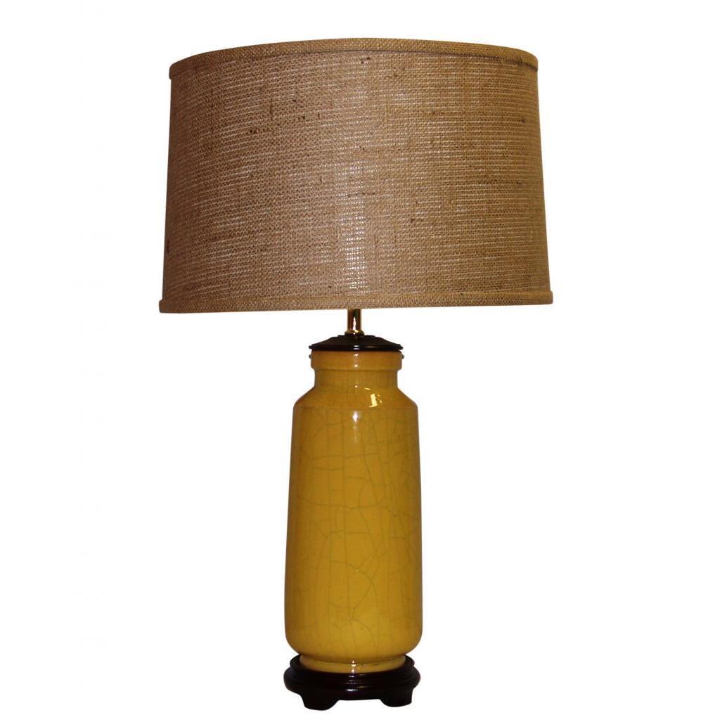 Crown Lighting Yellow Crackle Ceramic Table Lamp with Brown Burlap Drum Shade