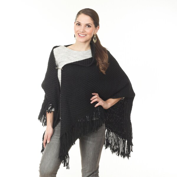Women's Knitted Open Poncho in Black (As Is Item)