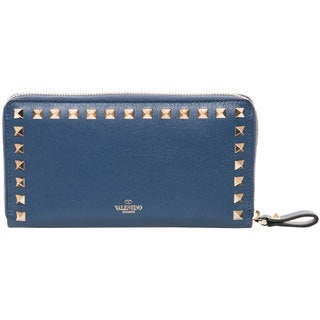 Valentino Slate Blue Rockstud Zip-around Leather Wallet