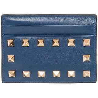 Valentino Slate Blue Rockstud Card Case Wallet