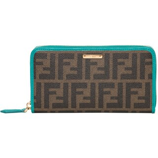Fendi Zucca Canvas Leather Continental Wallet