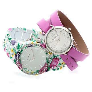 Vernier Women's 2-piece Pink Leather Wrap Strap Watch & Floral Pattern Watch Set