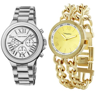 Vernier Women's 2-piece Silvertone & Goldtone Bracelet Watch Set