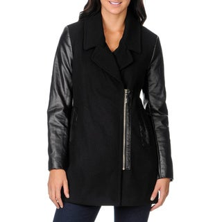 Kensie Women's Wool Blend and Faux Leather Coat