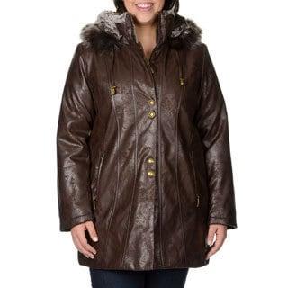 Nuage Women's Plus Size 'Napa' Brown Leatherette-trim Coat