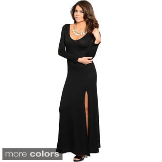 Stanzino Women's High-slit Long Sleeve Maxi Dress