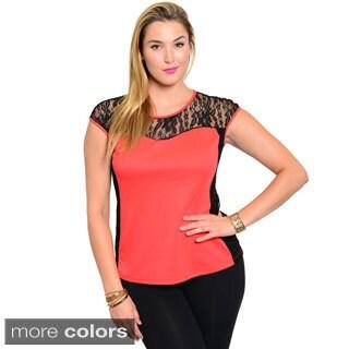 Stanzino Women's Plus Size Colorblock Lace Detailed Top