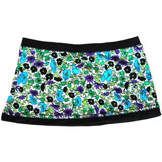 Azul Swimwear Girls Violet and Black Floral Print Swim Skirt