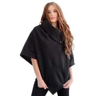 Stanzino Women's Solid Black Poncho