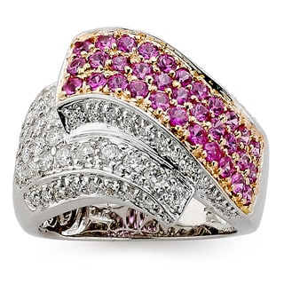 DFAC by Neda Behnam 18k Two-tone Gold 1ct TDW Diamond and Sapphire Ring (H-I, SI1-SI2)