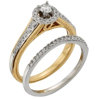 Sofia 10k Two-tone Gold 1/2ct TDW Round Diamond Bridal Set (H-I, I1-I2)