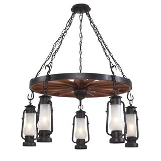 Elk Lighting 'Chapman' 5-light Matte Black Lantern Chandelier