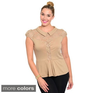 Stanzino Women's Plus Size Lace Detailed Peplum Top