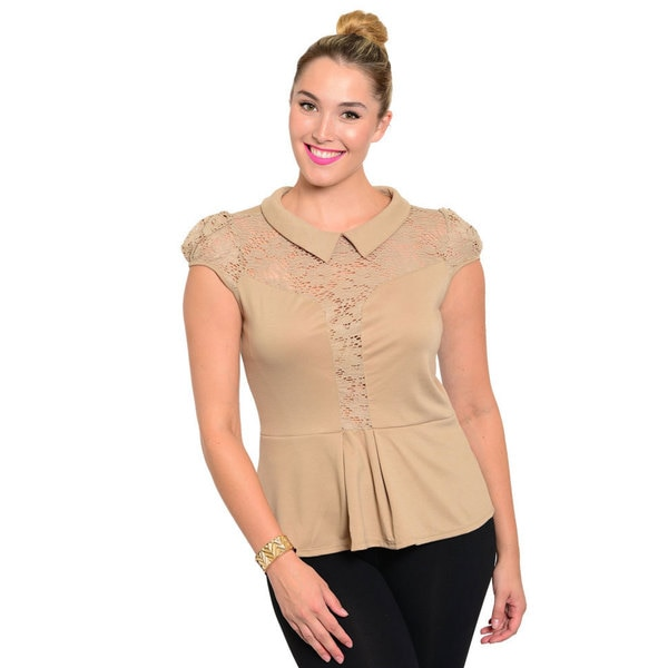 Stanzino Women's Plus Size Lace Detailed Peplum Top