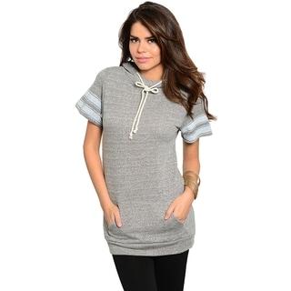 Stanzino Women's Grey Short Sleeve Hooded Sweater