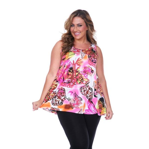 White Mark Women's Plus Size Pink Butterfly Tank Top