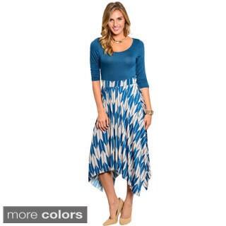 Stanzino Women's Two-tone Mid-Length Dress with Asymmetric Hem