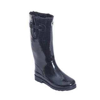 Women's Glossy Black Faux Fur Mid-calf Rain Boots