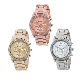 Geneva Silver/ Gold/ Roseplated Women's Boyfriend Cubic Zirconia Watch (Pack of 3)