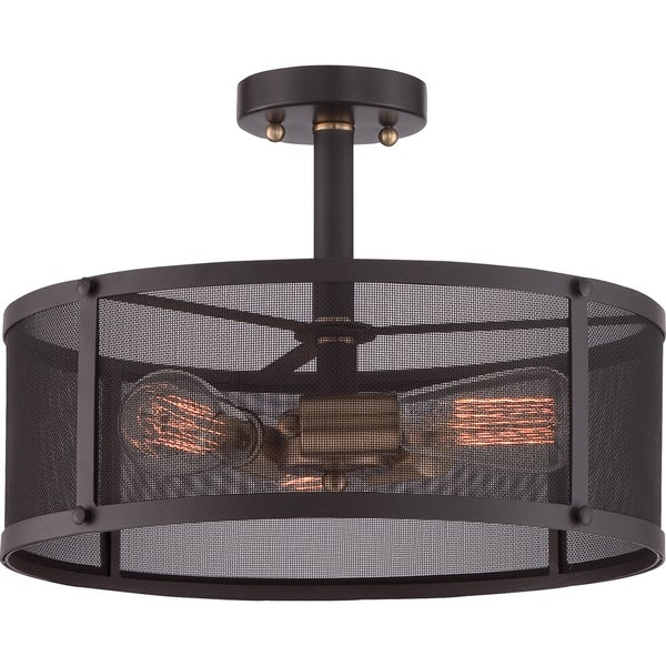 Union Station 3-light Western Bronze Large Semi Flush Mount