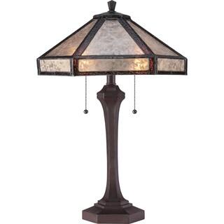 Tiffany-style Fielding 2-light Russet Table Lamp