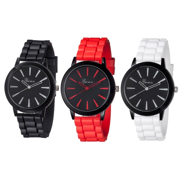 Geneva Women's Large Dial Silicone Watch (Set of 3)