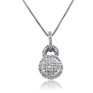 Gioelli Sterling Silver Micro Pave Cubic Zirconia Pendant Necklace