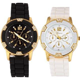 Geneva Women's Black/ White 2-piece Watch Set