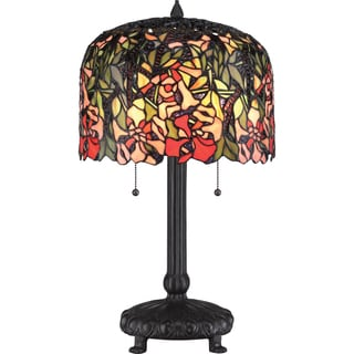 Red Brier 2-light Western Bronze Tiffany Glass Table Lamp