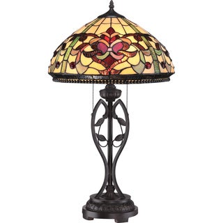 Kings Pointe 2-light Imperial Bronze Tiffany Glass Table Lamp