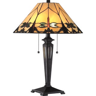 Tiffany 2-light Summer Dragonfly Imperial Bronze Table Lamp