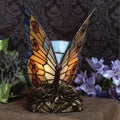 Tiffany 1-light Orange Butterfly Architectural Bronze Accent Lamp