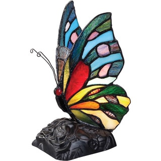Tiffany-style Rainbow Butterfly 1-light Accent Figurine Lamp